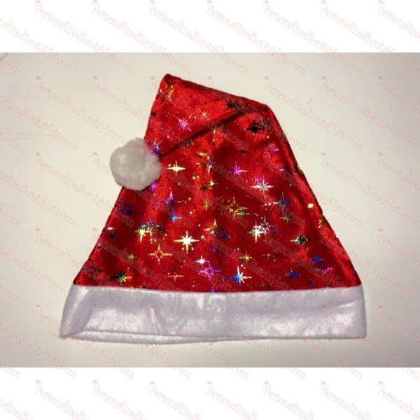 5d8a013882972 Red Santa Hat With Color Stars - Personalized Glitter Glue Santa Hats